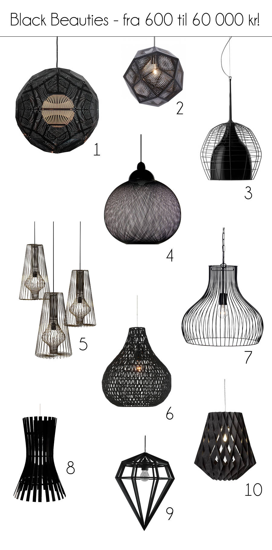 Svarte lamper til lys(t) og begj u00e6r u2014 KREATIV I TET