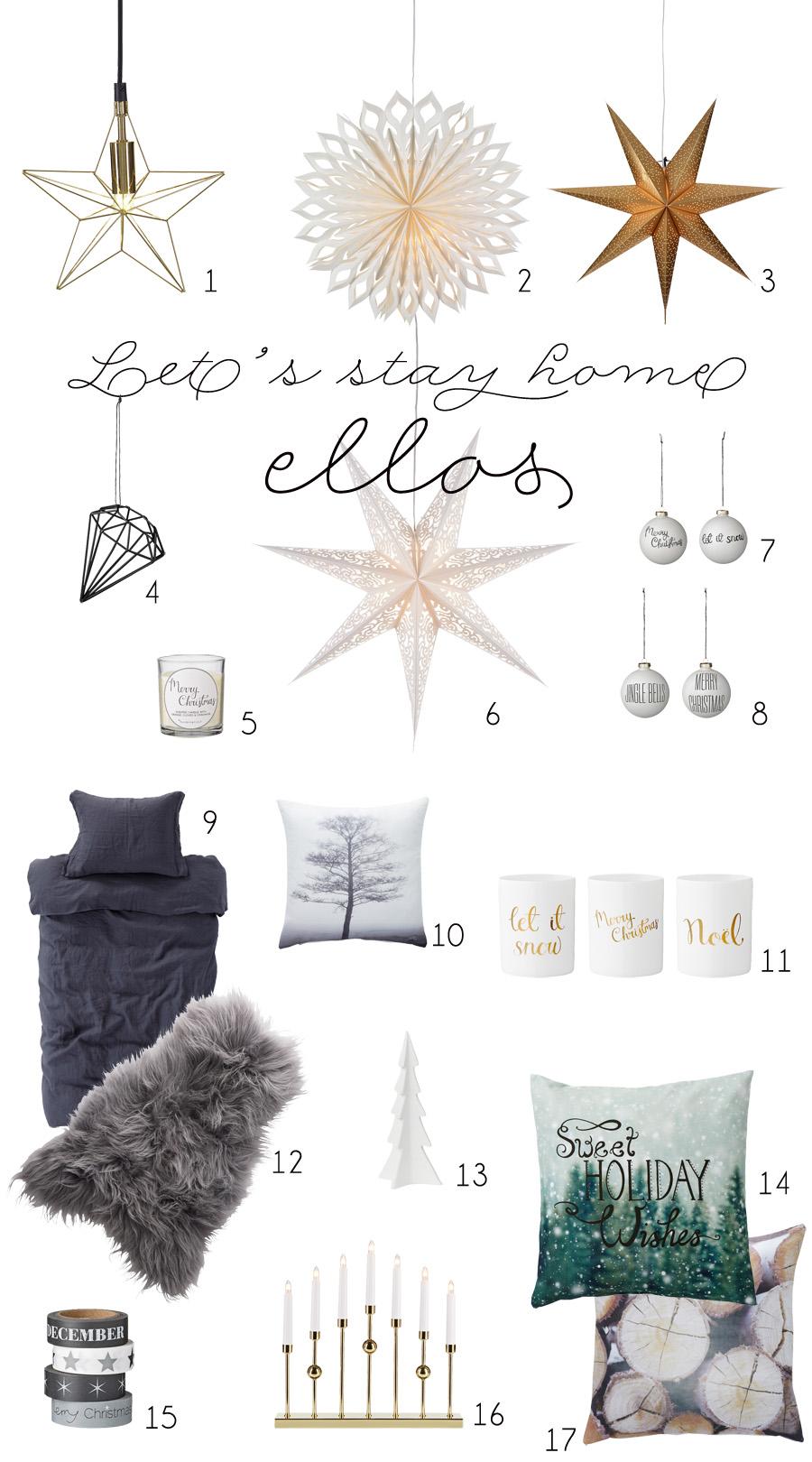 Collage med julevarer fra Ellos