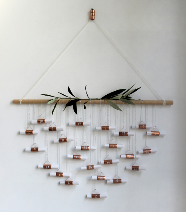 DIY copper pipe advent calendar