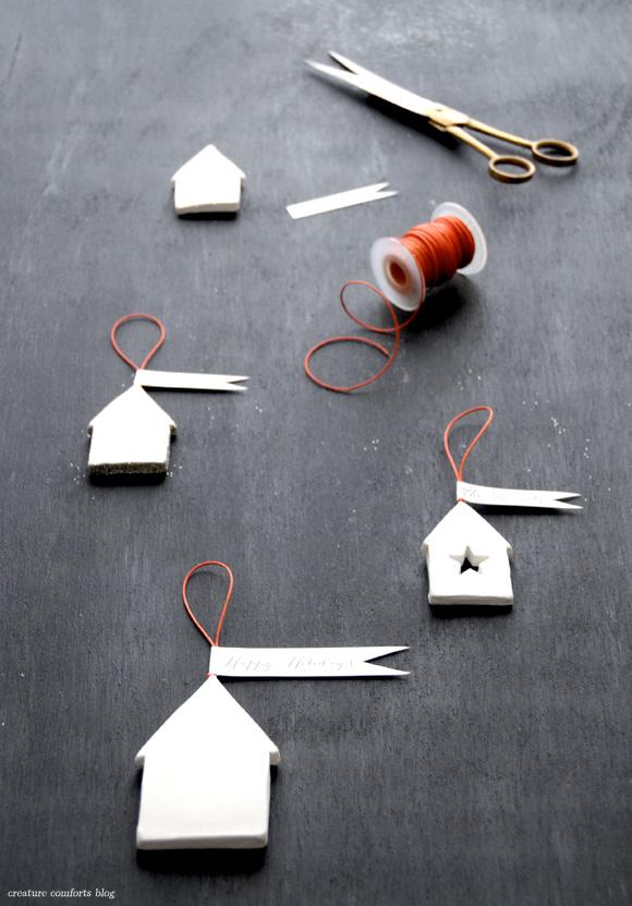 diy christmas clay houses