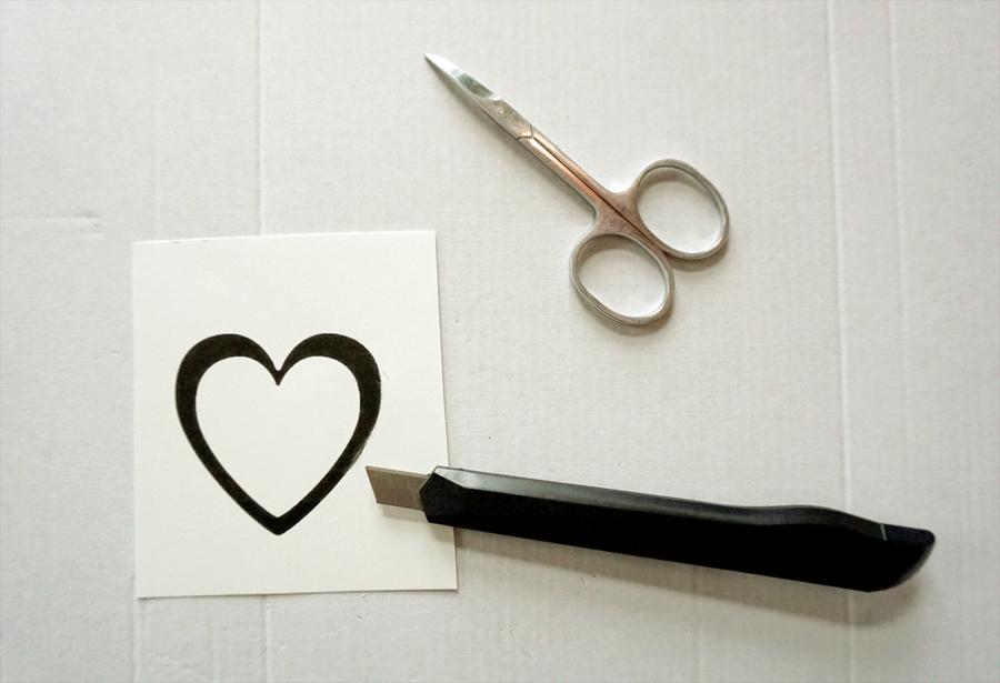 diy valentineskort bladgull