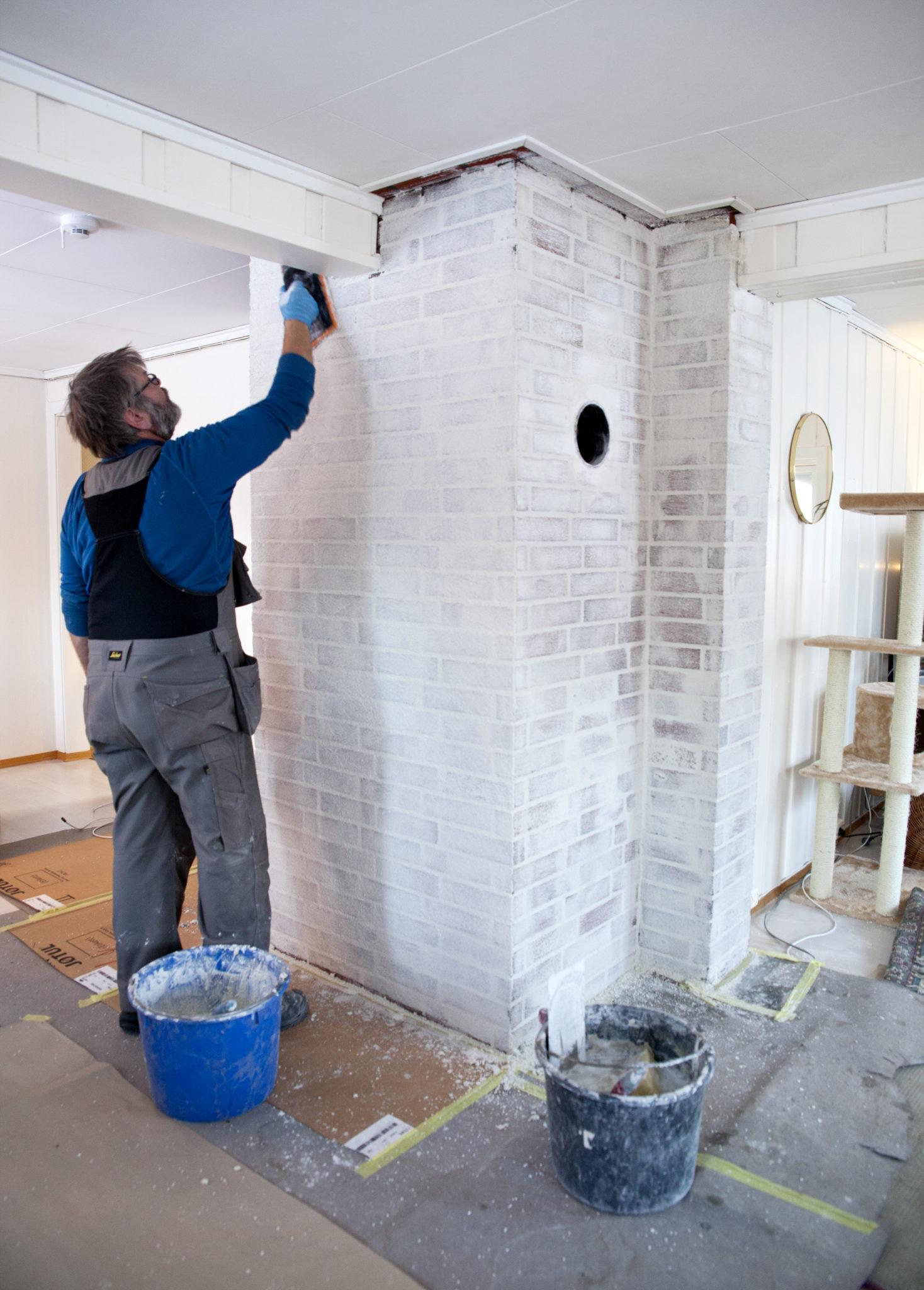 oppussing av murvegg med marmormørtel