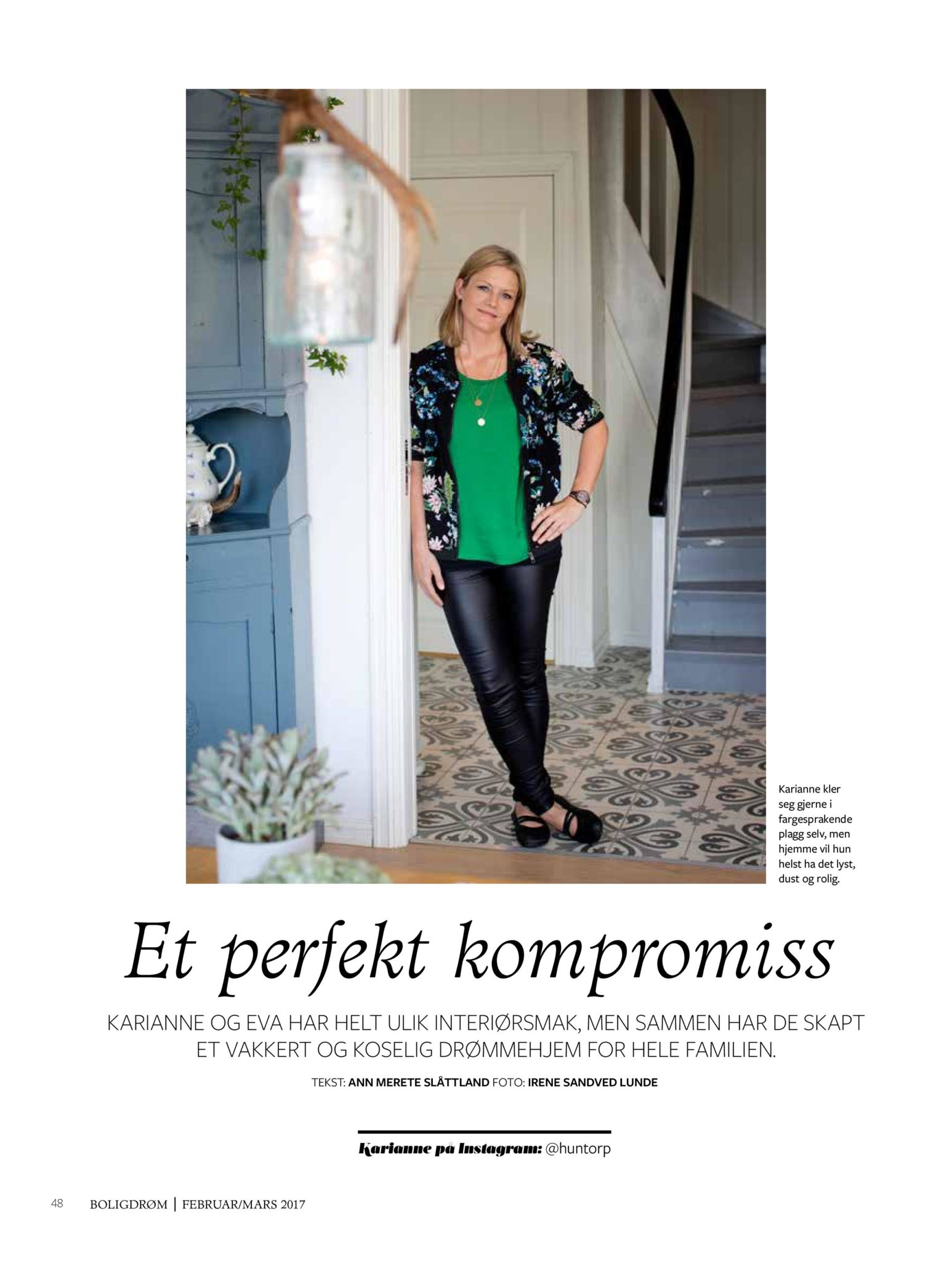 boligreportasje Karianne Gustavsen BoligDrøm nr. 2/2017 side 1