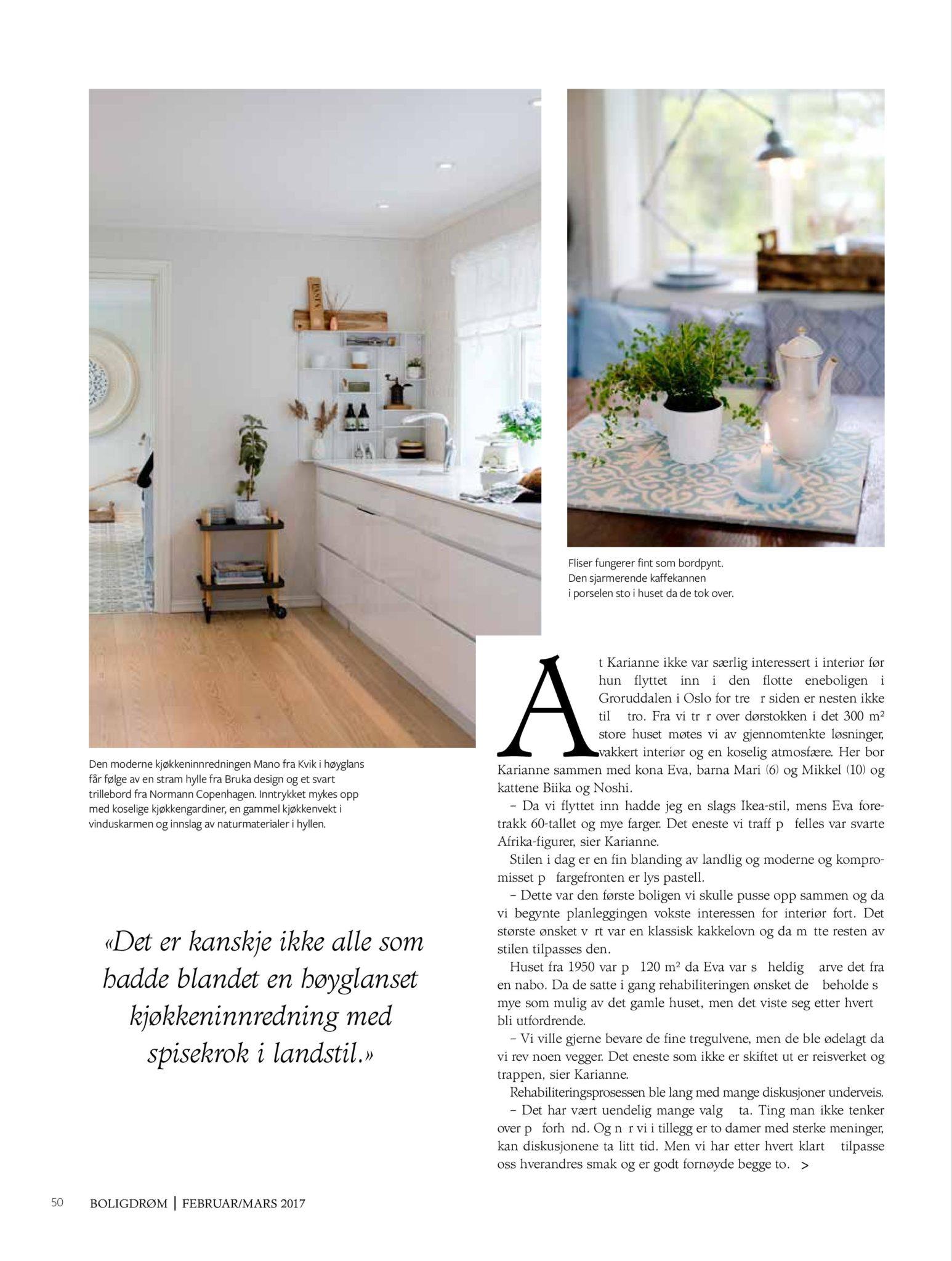 boligreportasje Karianne Gustavsen BoligDrøm nr. 2/2017 side 3