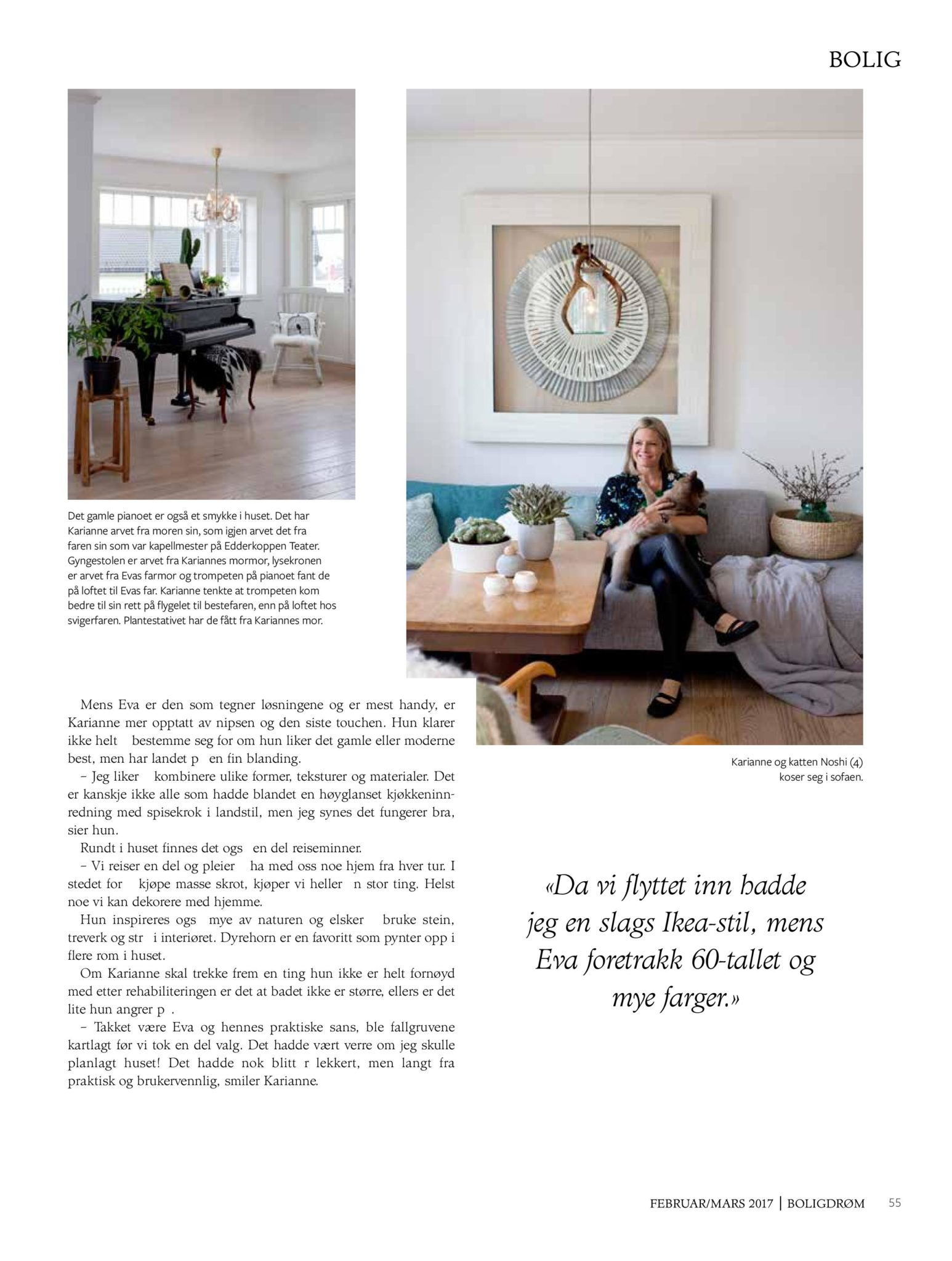 boligreportasje Karianne Gustavsen BoligDrøm nr. 2/2017 side 8