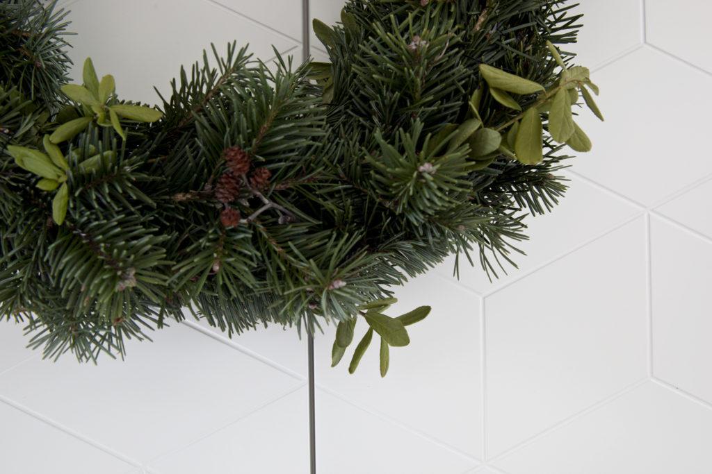 julekrans med granbar