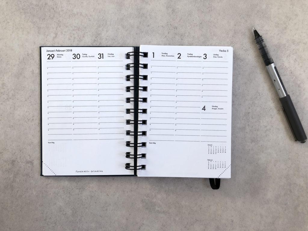 kalenderbok 2018 innside